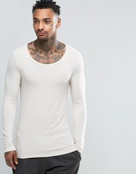 Asos Extreme Muscle Long Sleeve T Shirt With Scoop Neck In Off White Off White Cream