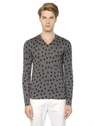 Dolce And Gabbana Polka Dot Printed Silk Sweater