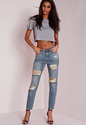 Missguided Retro High Rise Ripped Skinny Jeans Vintage Blue Blue