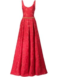 Marchesa Notte Rose Pattern Gown Red