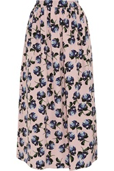 Mother Of Pearl Romilly Floral Print Silk Crepe Midi Skirt Pink