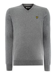 Lyle And Scott V Neck Classic Cotton Jumper Mid Grey Marl