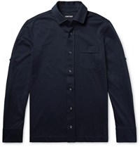 Tom Ford Slim Fit Brushed Cotton Jersey Shirt Navy