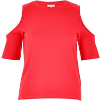 River Island Womens Bright Pink Cold Shoulder Top