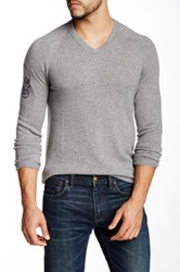 Autumn Cashmere Cashmere Skull Sleeve Sweater Gray