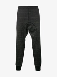 Neil Barrett Virgin Wool Blend Check Print Sweatpants Brown