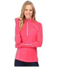 Columbia Trail Flash 1 2 Zip Shirt Punch Pink Tradewinds Grey Women's Long Sleeve Pullover