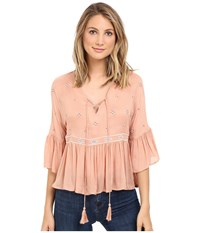 Brigitte Bailey Ali 3 4 Sleeve Top With Embroidery Blush Women's Clothing Pink
