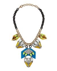 Panacea Square Rhinestone Statement Necklace Blue Yellow