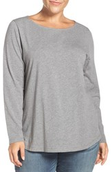 Sejour Plus Size Women's Ballet Neck Long Sleeve Tee Grey Dark Heather