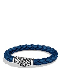 David Yurman Chevron Bracelet In Blue Silver Blue