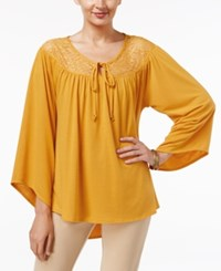 Ny Collection Lace Yoke Peasant Top Cadmium Yellow