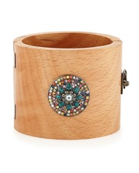 Valhalla Mixed Sapphire And Wood Cuff Bracelet Blue M.C.L. Design By Matthew Campbell