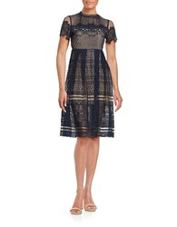 Design Lab Lord And Taylor Crochet Overlay Illusion Dress Navy