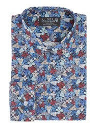 New And Lingwood Men's Oundle Hydrangea Print Shirt Navy