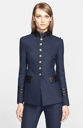 Altuzarra Lightweight Military Blazer With Leather Trim Navy