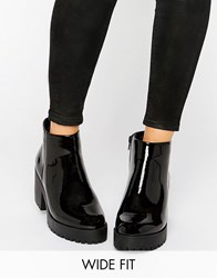 New Look Wide Fit Chunky Patent Faux Leather Ankle Boot Black
