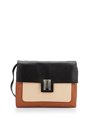 Badgley Mischka Janine Tri Tone Leather Crossbody Black Latte Cognac