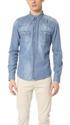 The Kooples Sport Distressed Denim Shirt Blue