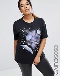 Asos Curve T Shirt With Retro Space Scape And Gem Detail Black