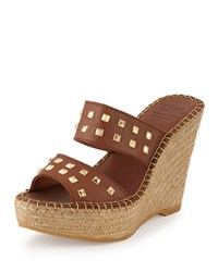 Andre Assous Bally Studded Leather Wedge Sandal Cuero