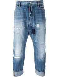 Dsquared2 Rip Detail Cropped Jeans Blue
