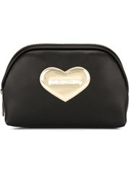 Love Moschino Heart Embellished Make Up Bag Black