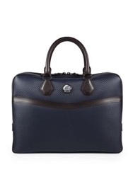 Dunhill Chassis Leather Briefcase Navy Brown