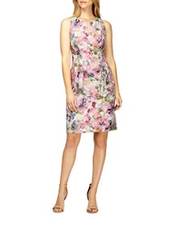 Kay Unger Floral Print Pleated Sheath Dress Pink Multi