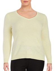 Lord And Taylor Plus Cashmere V Neck Sweater Yellow