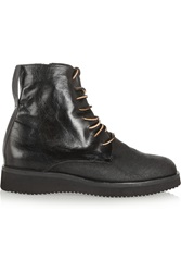 Esquivel Dublin Distressed Leather And Canvas Ankle Boots Black