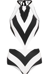 Emma Pake Stella Cutout Striped Swimsuit Black