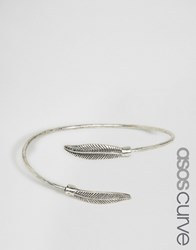 Asos Curve Feather Cuff Bracelet Antique Silver
