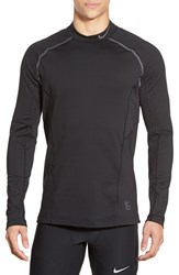 Men's Nike 'Pro Hyperwarm' Fitted Long Sleeve Dri Fit T Shirt Black Dark Grey Dark Grey