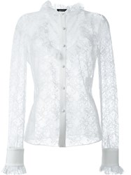 Magda Butrym Sheer Lace Shirt White