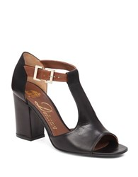 Delman Alfie Leather T Strap Sandals Black