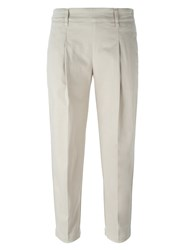 Eleventy Tailored Cropped Trousers Nude And Neutrals