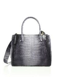 Nancy Gonzalez Small Double Zip Crocodile Tote Grey