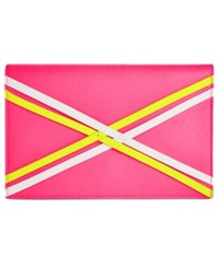 Danielle Nicole Nia Small Clutch White Neon Pink Yellow