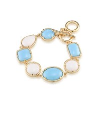 1St And Gorgeous Multi Shape Flex Toggle Bracelet Light Blue White Light Blue And White