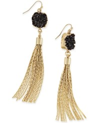 Inc International Concepts Druzy Crystal Tassel Earrings Only At Macy's Black