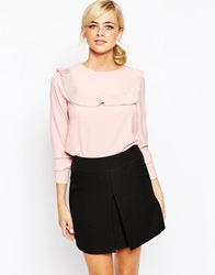 Dahlia Blouse With Pleated Bib Detail Pink