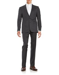 Calvin Klein 2 Button Pickstitched Wool Suit Charcoal