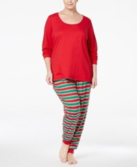 Family Pajamas Plus Size Women's Holiday Stripe Knit Pajama Set Only At Macy's Red Green Stripe