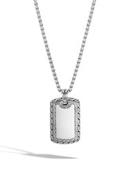 John Hardy Classic Chain Sterling Silver Dog Tag Pendant Necklace