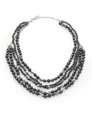 Chan Luu Hematite Crystal And Sterling Silver Multi Strand Beaded Necklace