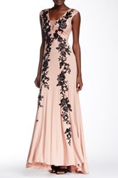Sue Wong Floral Applique And Lace Gown Pink