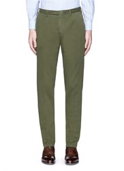 Boglioli Cotton Basketweave Chinos Green