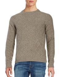 Black Brown Cableknit Wool Blend Sweater Wheat Heather