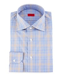 Isaia Check Dress Shirt Blue
